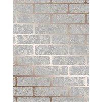 Product photograph showing Superfresco Milan Brick Wallpaper - Rose Gold