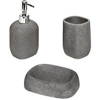 Product photograph showing Aqualona Grey Stone 3-piece Bathroom Accessory Set
