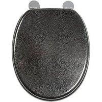 Product photograph showing Croydex Black Flexi-fix Toilet Seat