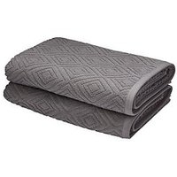 Product photograph showing Catherine Lansfield Linear Diamond Towel Range - Grey - 2 Bath Towels