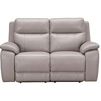 Product photograph showing Colby Real Leather Faux Leather 2 Seater Power Recliner Sofa