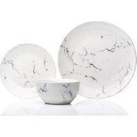 Product photograph showing Sabichi Marble 12 Piece Porcelain Dinner Set