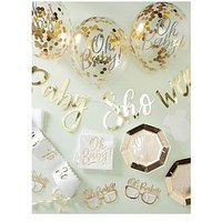 Product photograph showing Ginger Ray Gold Baby Shower Party In A Box
