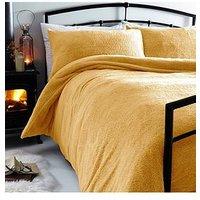 Product photograph showing Silentnight Teddy Fleece Duvet Cover Set - Ochre