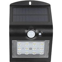 Product photograph showing Luceco Solar Guardian Pir Wall Light Black Ip65 1 5w 220lm 4000k