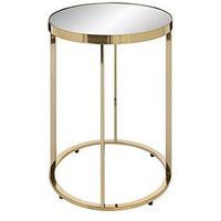 Product photograph showing Gabriella Mirrored Lamp Table - Gold