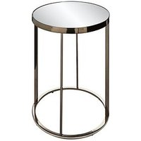 Product photograph showing Gabriella Mirrored Lamp Table - Nickel
