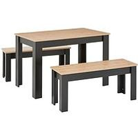 Product photograph showing Boston 120 Cm Dining Table And 2 Benches