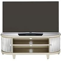 Product photograph showing Venetian 2 Door Curved Glass Tv Unit - Fits Up To 50 Inch Tv