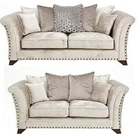 Product photograph showing Caprera Fabric 3 Seater 2 Seater Scatter Back Sofa Set Buy And Save