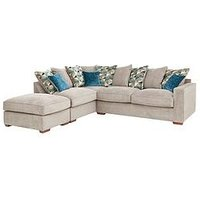 Product photograph showing Miller Fabric Left Hand Corner Chaise Scatter Back Sofa With Footstool And Sofa Bed