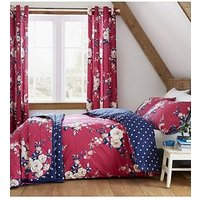 Product photograph showing Catherine Lansfield Canterbury Easy Care Duvet Cover Set - Raspberry