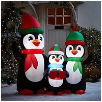 Product photograph showing Festive 5ft Inflatable Penguin Family Outdoor Christmas Decoration