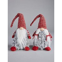 Product photograph showing Festive Set 2 Grey Red Plush Gonk Christmas Decorations