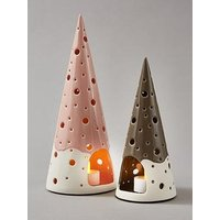 Product photograph showing Set Of 2 Christmas Tree Tealight Holders