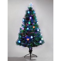 Product photograph showing Colour-changing And Space-saving Needle Pine Fibre Optic Christmas Tree - 5ft