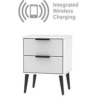 Product photograph showing Swift Copenhagen Ready Assembled 2 Drawer Bedside Table With Integrated Wireless Charging