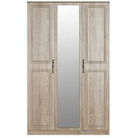 Product photograph showing Swift Winchester Part Assembled 3 Door Mirrored Wardrobe