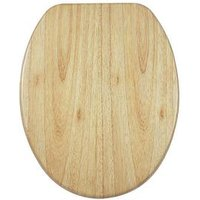 Product photograph showing Aqualona Solid Oakwood Soft Close Toilet Seat