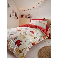 Product photograph showing Catherine Lansfield Jungle Bells Christmas Duvet Cover Set
