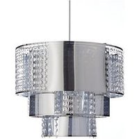Product photograph showing Jasmine Metal-look Pendant Light Shade With Gems