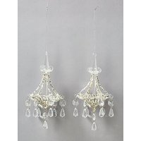 Product photograph showing Gisela Graham Chandelier Christmas Tree Decorations Set Of 2
