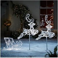 Product photograph showing Noma 96 Cm Flying Reindeers And Sleigh Indoor Outdoor Christmas Decoration