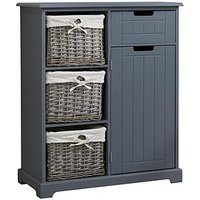 Product photograph showing Lloyd Pascal Burford Ready Assembled Painted Side By Side Bathroom Storage Unit - Grey
