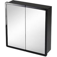 Product photograph showing Lloyd Pascal Memphis Bathroom Double Mirror Black High Gloss Wall Cabinet