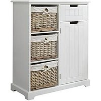 Product photograph showing Lloyd Pascal Burford Ready Assembled Painted Side By Side Bathroom Storage Unit - White