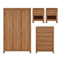 Product photograph showing Cuba 4 Piece Package - 3 Door Mirrored Wardrobe 5 Drawer Chest And 2 Bedside Chests