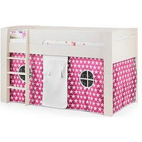 Product photograph showing Julian Bowen Nova Mid Sleeper Bed With Pink Star Tent