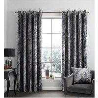 Product photograph showing Catherine Lansfield Marble Velvet Eyelet Curtains