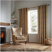Product photograph showing Catherine Lansfield Woven Check Thermal Eyelet Curtains