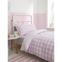 Product photograph showing Bianca Cottonsoft Bianca Pink Check Cotton Duvet Cover Set