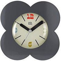 Product photograph showing Orla Kiely House Flower Alarm Clock - Charcoal