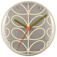 Product photograph showing Orla Kiely House Linear Stem Wall Clock - Light Grey