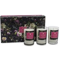 Product photograph showing Oasis Home Renaissance Rose And Patchouli 3 Candle Gift Set