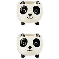 Product photograph showing Sass Belle Set Of 2 Mini Panda Planters