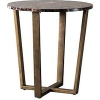 Product photograph showing Hudson Living Emperor Marble Round Side Table - Brown