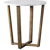 Product photograph showing Hudson Living Cleo Marble Round Side Table - White