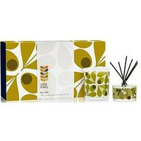 Product photograph showing Orla Kiely House Acorn Cup Scented Candle And Reed Diffuser Set Ndash Fig Tree