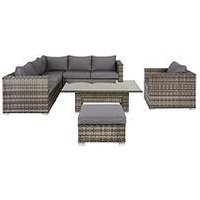 image-Aruba 6-Seater Corner Sofa Set With Chair, Footstool And Adjustable Table Garden Furniture