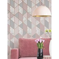 Product photograph showing Sublime Marble Blush Geo Wallpaper