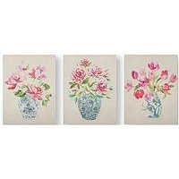 Product photograph showing Graham Brown Floral Ginger Jars Set Of 3 Canvases
