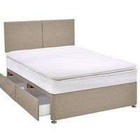 Product photograph showing Airsprung Ezra 600 Pocket Pillow Top Divan Bed With Storage Options