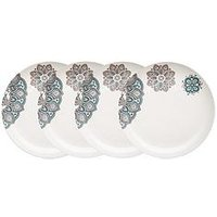 Product photograph showing Denby Monsoon Mandala 4 Piece Dinner Plate Set