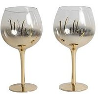 Product photograph showing Always Forever Set Of 2 Gold Ombre Gin Glasses Hubby Wifey