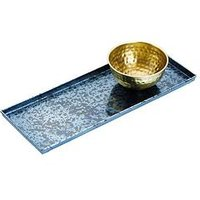 Product photograph showing Kitchencraft Artes Blue Galvanised Serving Platter With Brass Serving Bowl With Gift Box