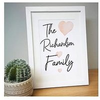 Product photograph showing Personalised Family A4 Framed Print